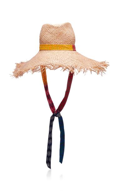 Albertus Swanepoel Motswari Fringed Raffia Hat in neutral