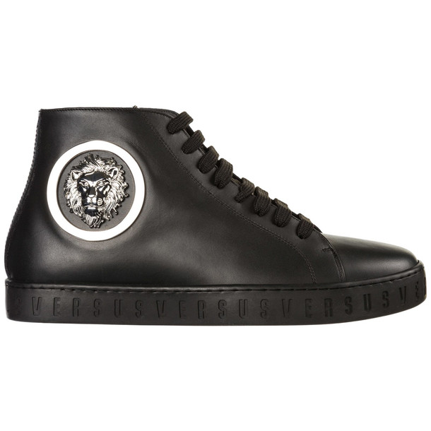 Versus Versace Men's Shoes High Top Leather Trainers Sneakers Lion Head in nero
