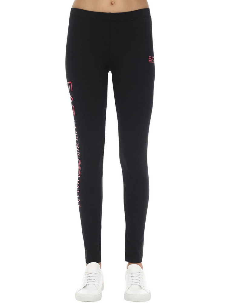 EA7 EMPORIO ARMANI Train Stretch Cotton Leggings in black / pink