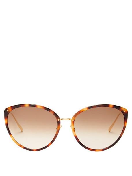Linda Farrow - Angelica Cat-eye Acetate And Metal Sunglasses - Womens - Tortoiseshell