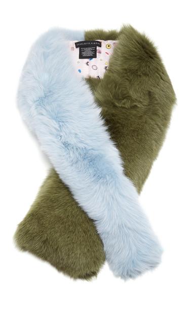 Charlotte Simone Criss-Cross Two-Tone Fur Scarf in green