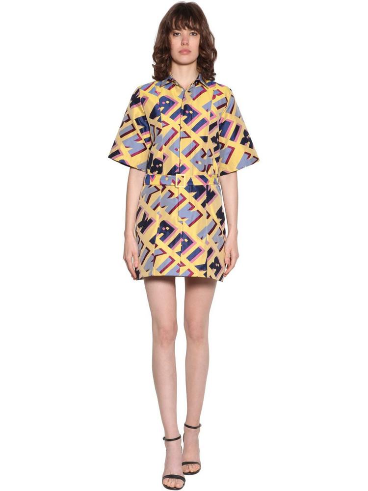 KIRIN Typo Jacquard Mini Dress in lilac / yellow
