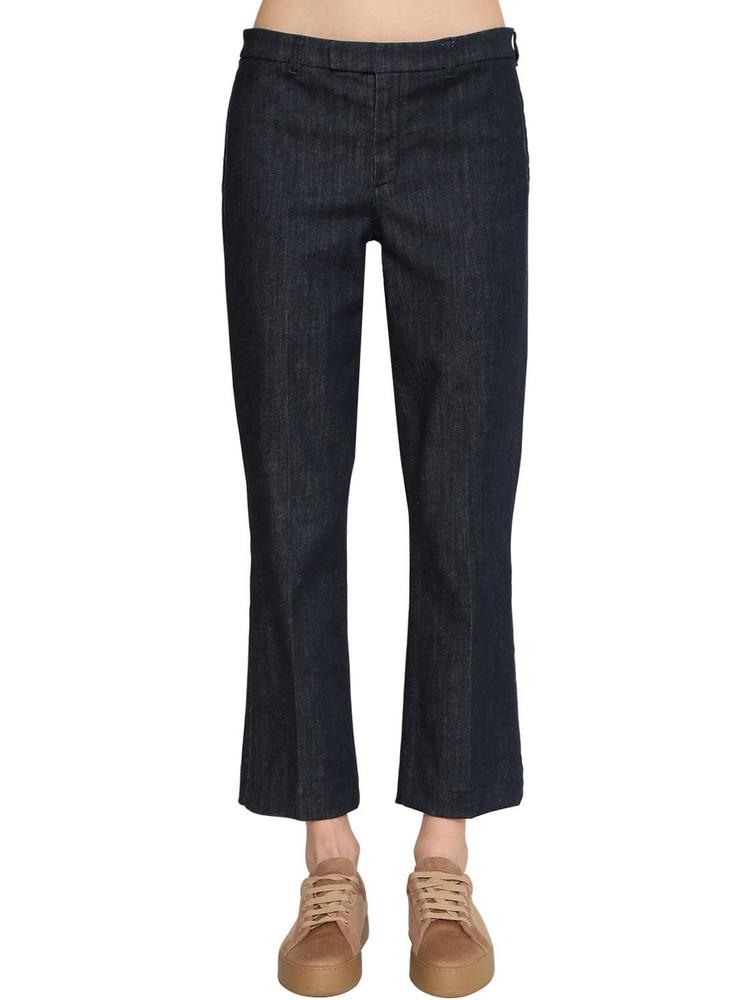 MAX MARA 'S Flared Cotton Blend Denim Pants in blue