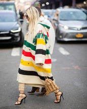 shoes,black sandals,ysl,handbag,prada,long coat,white coat,stripes,oversized coat,pants