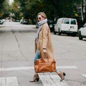 scarf,bag,brown bag,ankle boots,long coat,cropped jeans
