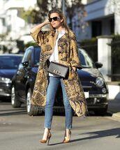 coat,long coat,dior,pumps,skinny jeans,white shirt,black bag
