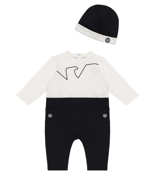 Emporio Armani Kids Baby stretch-cotton onesie and hat set in blue