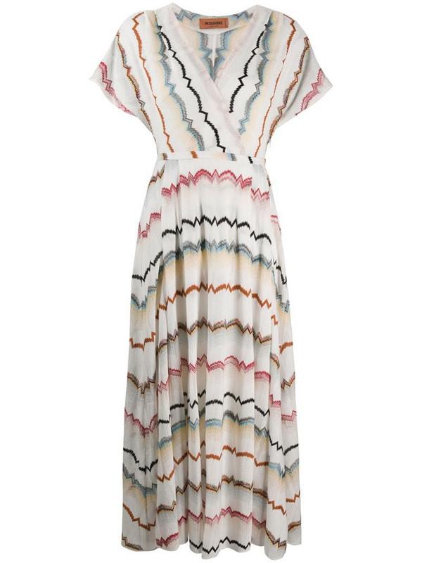 Missoni striped v-neck dress in white