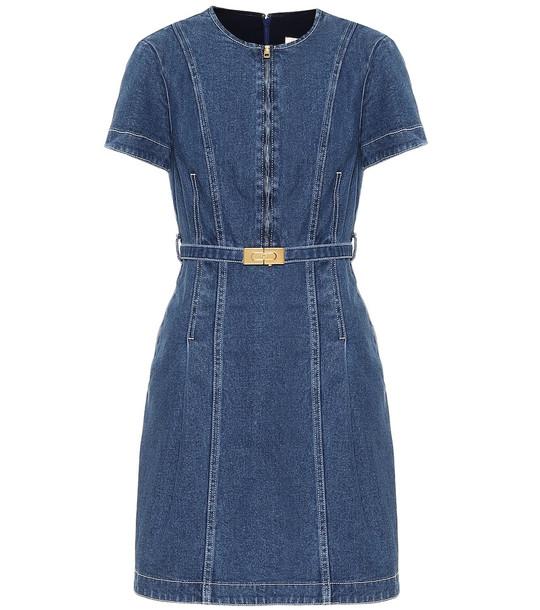 Tory Burch Nadia stretch-denim minidress in blue