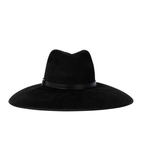 Gucci Horsebit leather-trimmed felt hat in black