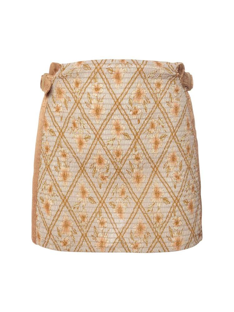 ALBERTA FERRETTI Printed Cotton Muslin Mini Skirt in beige