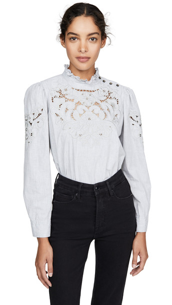 La Vie Rebecca Taylor Long Sleeve Leah Embroidery Top in grey