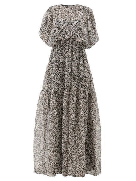 Rochas - Draped Floral-print Silk Gown - Womens - Black Print