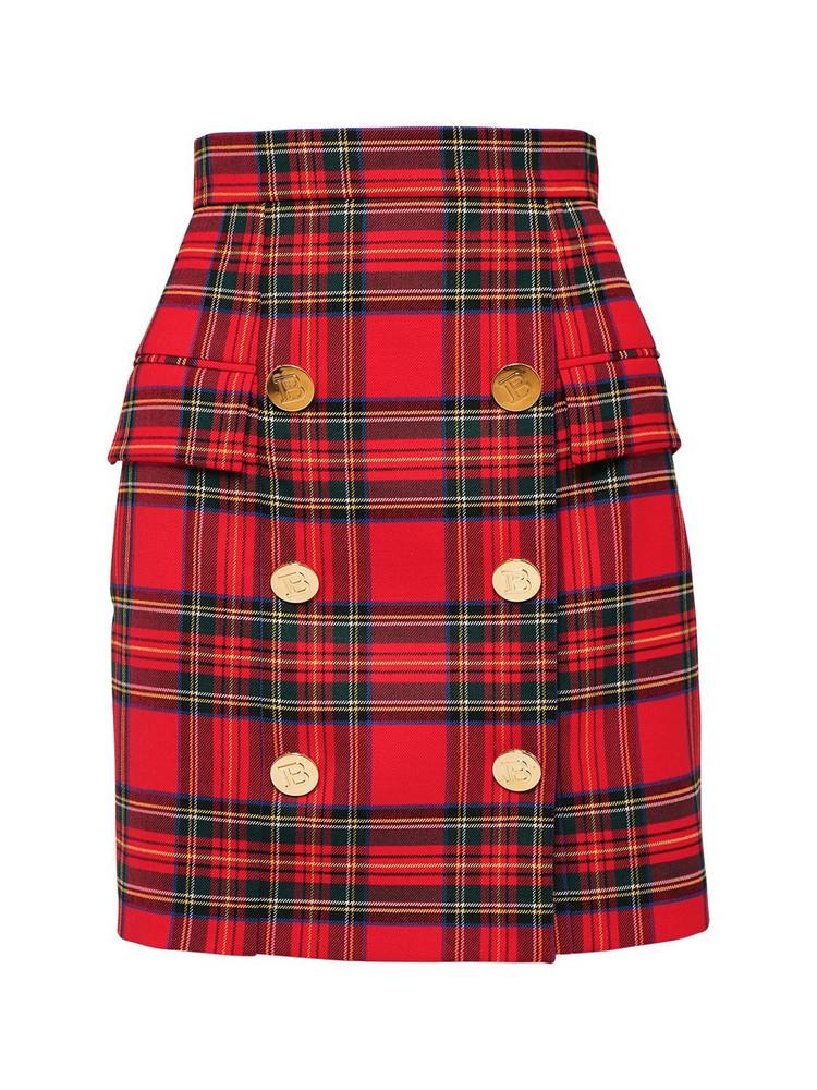 BALMAIN High Waist Stretch Wool Mini Skirt in red / multi