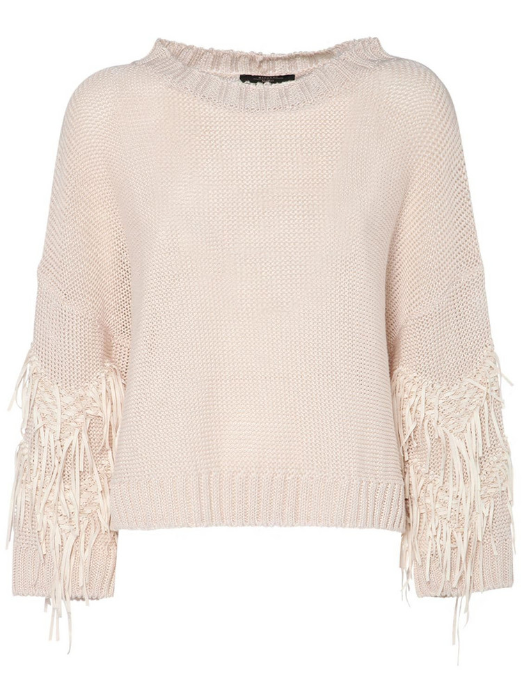 WEEKEND MAX MARA Ribbed Linen Sweater W/jacquard Fringes in ivory
