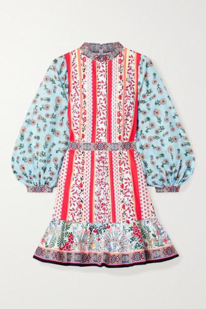 Alice + Olivia Alice Olivia - Raya Chiffon-trimmed Floral-print Cotton-poplin Mini Dress - Red