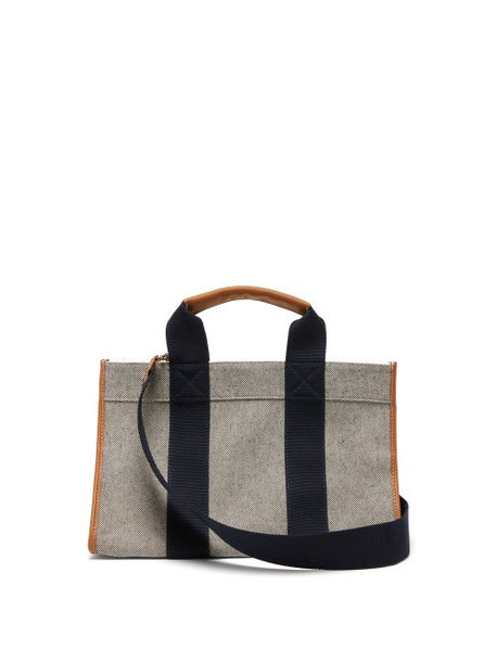 Rue De Verneuil - Leather-trimmed Canvas Tote Bag - Womens - Navy Multi