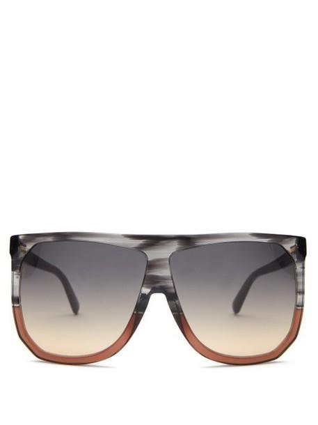 Loewe - Filipa Oversized Flat Top Acetate Sunglasses - Womens - Grey