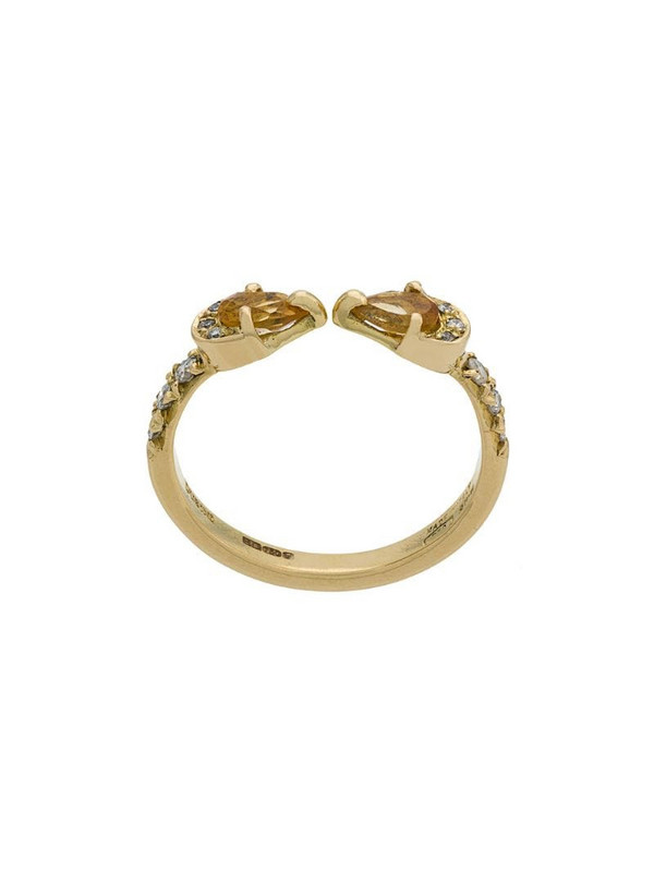 Dubini Theodora Double Drop 18kt gold ring in yellow