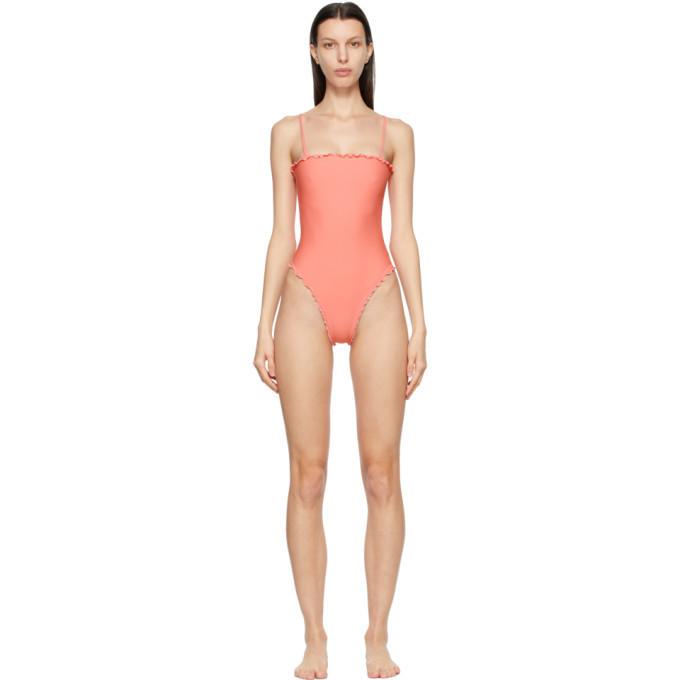 Sherris Pink Ruffle Tank One-Piece Swimsuit in peach