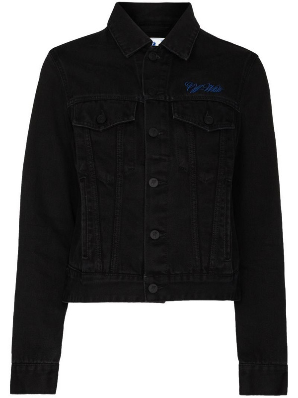 Off-White embroidered logo denim jacket in black