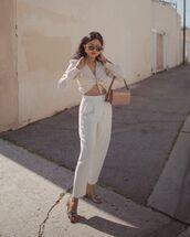 pants,high waisted pants,white pants,pleated,sandals,shirt,bag