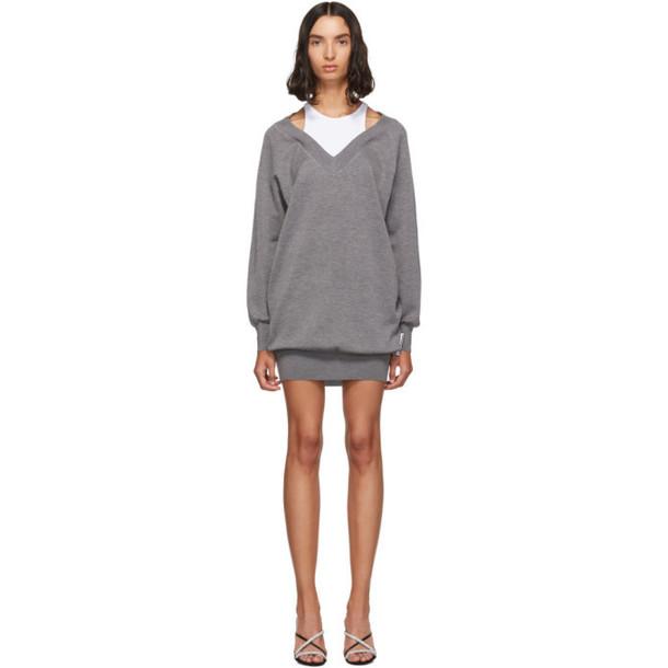alexanderwang.t Grey and White Bi-Layer Sweater Dress