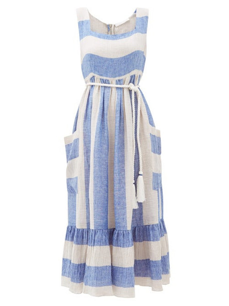 Love Binetti - Sunny Striped Linen Midi Dress - Womens - Blue Stripe