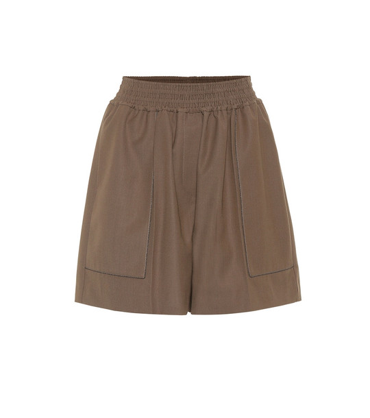 Brunello Cucinelli High-rise wool blend shorts in brown