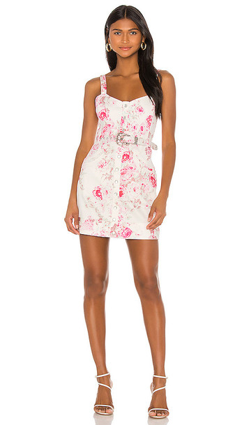 For Love & Lemons Weston Denim Mini Dress in Pink
