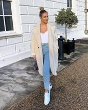 coat,teddy bear coat,white sneakers,topshop,high waisted jeans,handbag,white bodysuit
