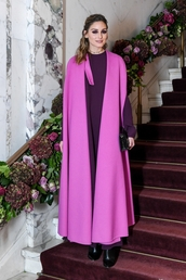 dress,purple,purple dress,maxi dress,coat,olivia palermo,blogger,vest