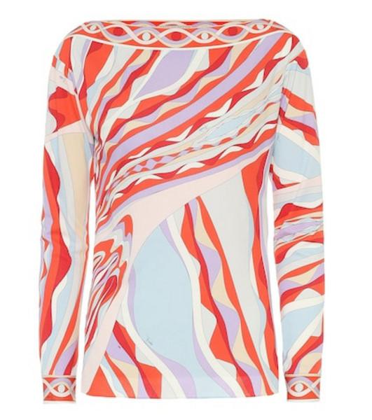 Emilio Pucci Printed silk-blend jersey top
