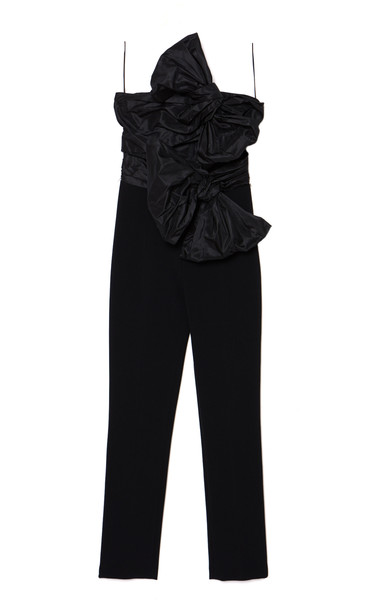 Carolina Herrera Taffeta-Bow Crepe Strapless Jumpsuit in black