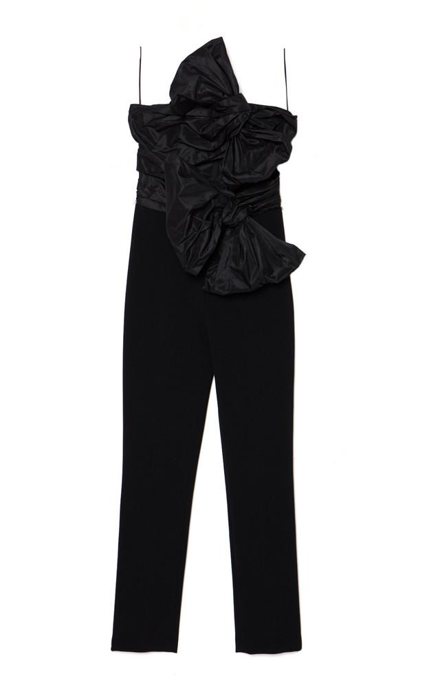 Carolina Herrera Taffeta-Bow Crepe Strapless Jumpsuit in black