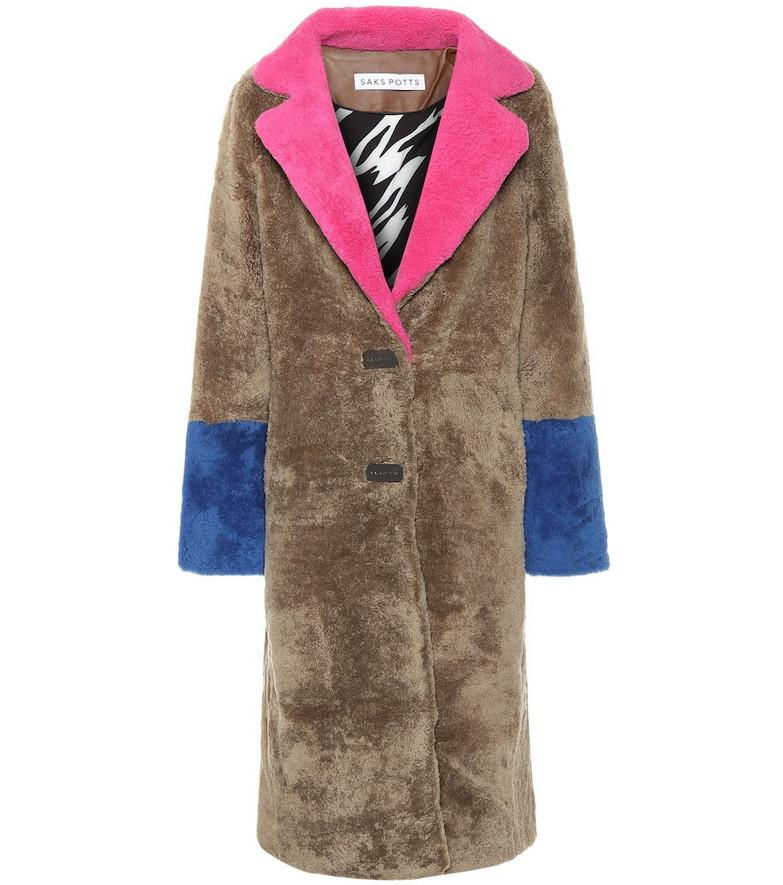 Saks Potts Febbe shearling coat in beige