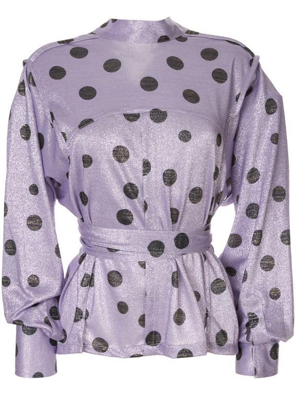 Bambah polka dot envelope blouse in purple