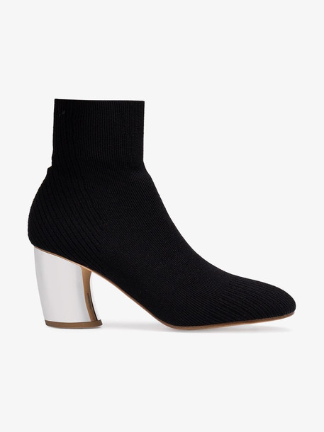 Proenza Schouler black knit sock mirrored heel boots