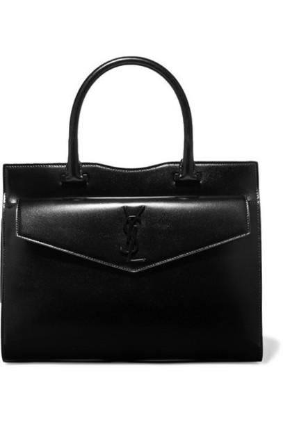 SAINT LAURENT - Uptown Medium Glossed-leather Tote - Black