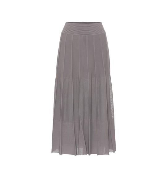 Agnona Pleated stretch-knit midi skirt in grey