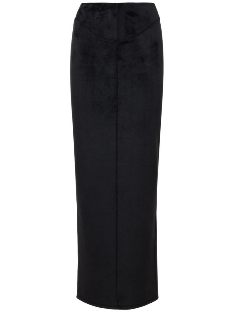ALEXANDER WANG Fitted Cotton Blend Midi Skirt in black