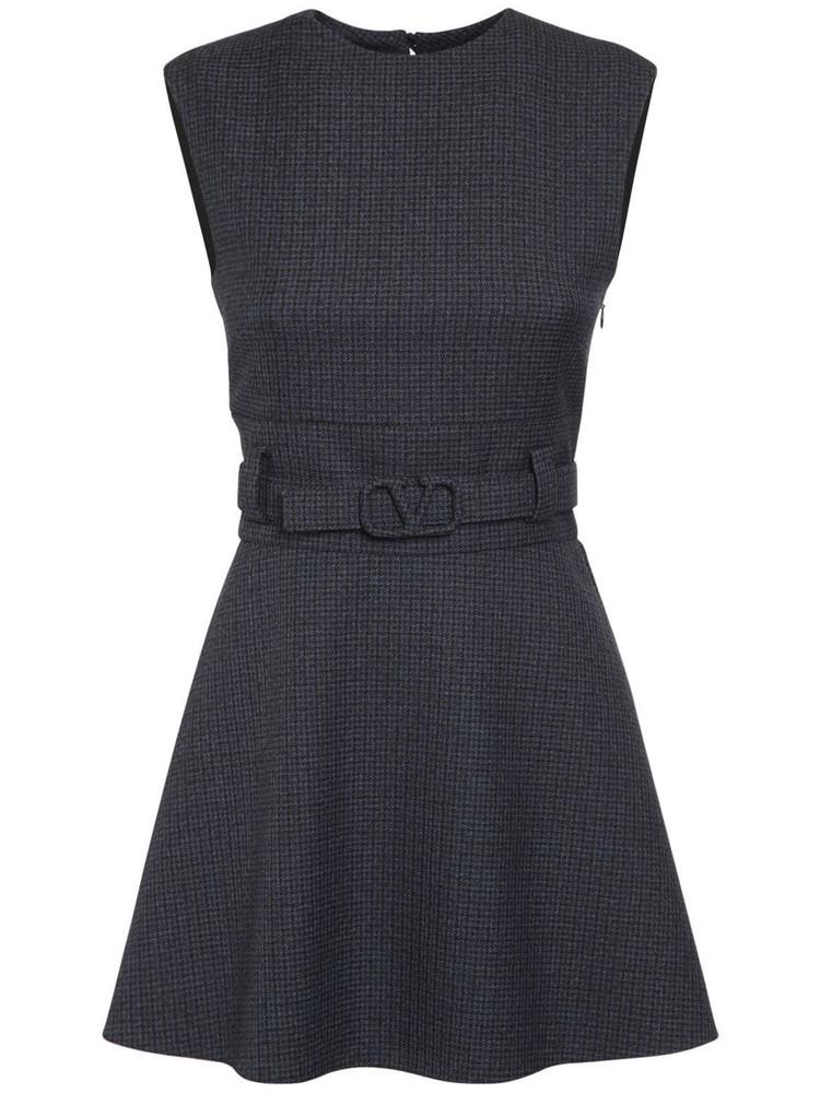 VALENTINO Wool Check Mini Dress W/belt in blue
