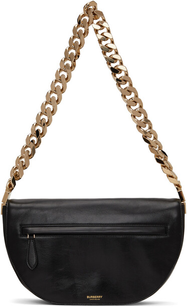 Burberry Black Crinkled Medium Olympia Bag