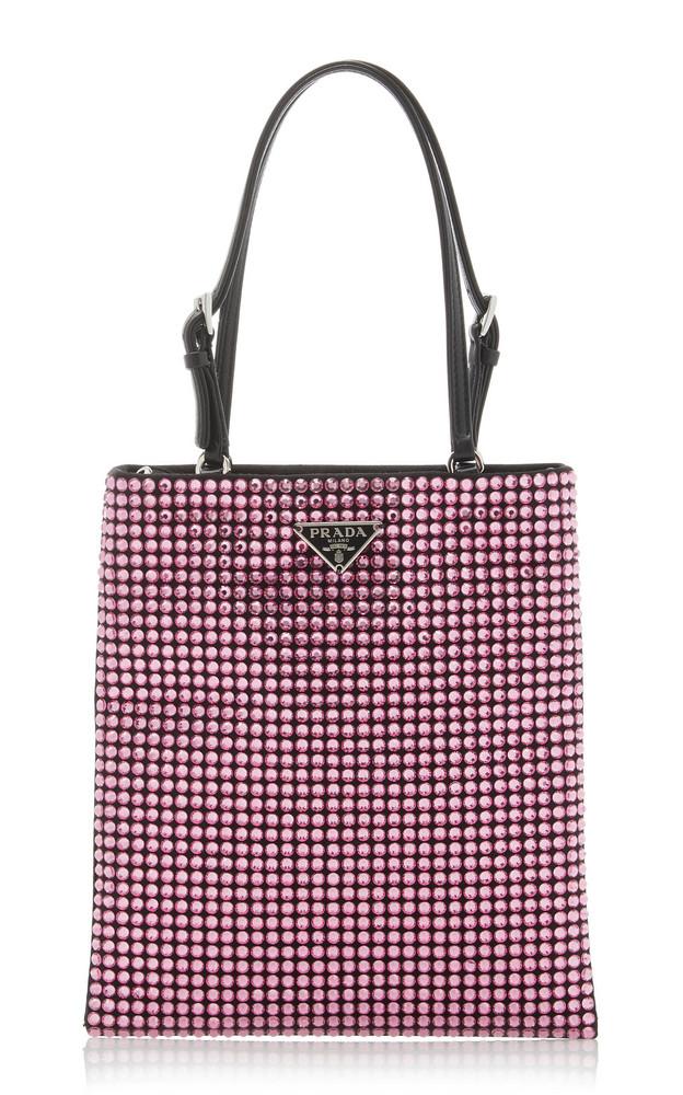 Prada Leather-Trimmed Crystal-Embellished Nylon Mini Bag in pink