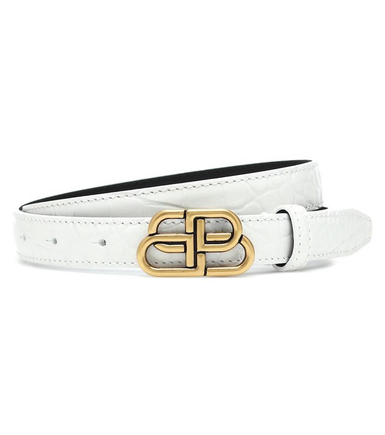 Balenciaga BB croc-effect leather belt in white