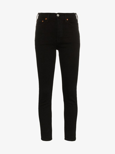 Re/Done high rise ankle crop jeans in black