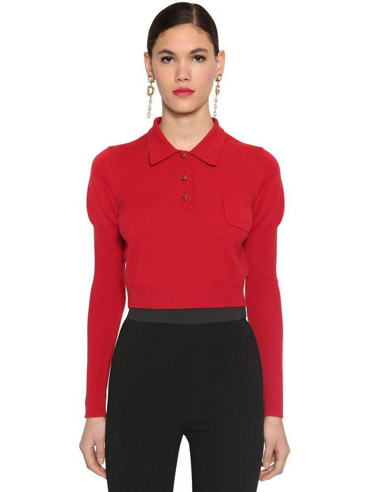 DOLCE & GABBANA Cashmere Knit Polo Sweater in red