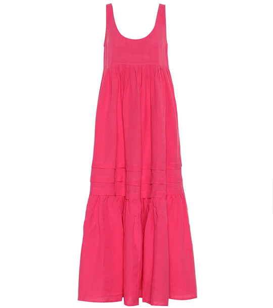 Solid & Striped Linen-blend maxi dress in pink