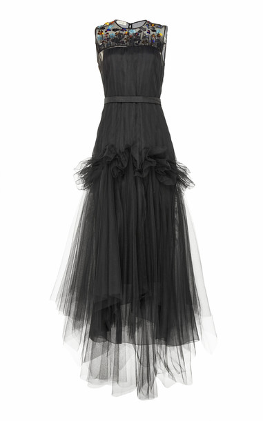 DELPOZO Sequin-Embellished Tiered Tulle Dress Size: 34 in black