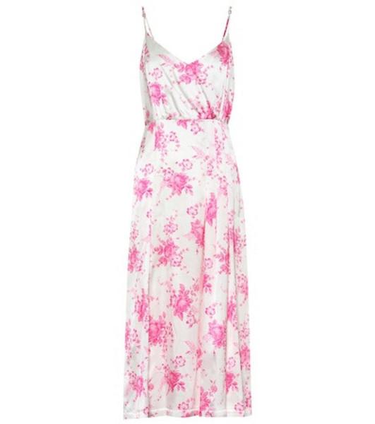 Les Rêveries Floral silk midi dress in white